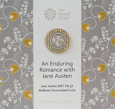The 2017 200th Anniversary of the Death of Jane Austen £2 Coin - Brilliant Uncirculated £2 Coin in Presentation Folder