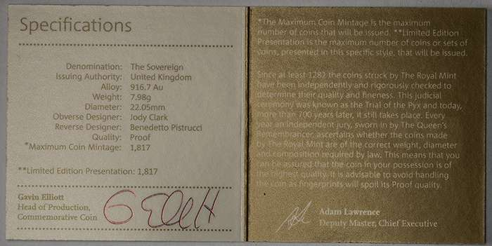 Royal Mint Certificate with Proof Error