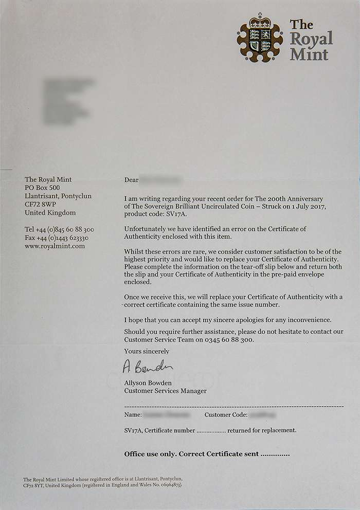 Royal Mint letter requesting return of incorrect certificates