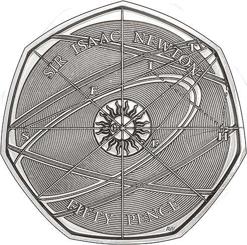 2017 Issac Newton Fifty Pence Reverse