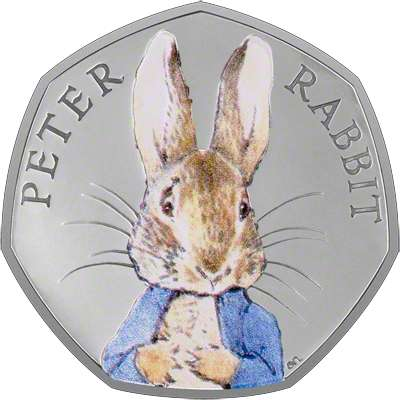 Peter Rabbit Coloured Silver Proof Fifty Pence