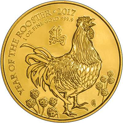 2017 Royal Mint Year of the Rooster 1oz Gold Lunar Coin