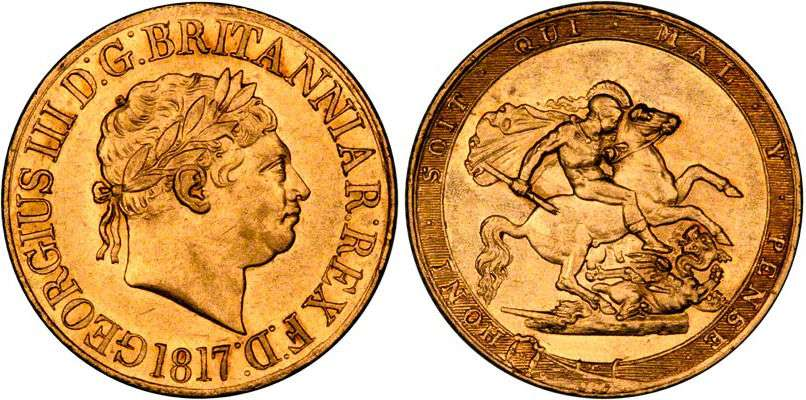1817 Sovereign Obverse and Reverse Image