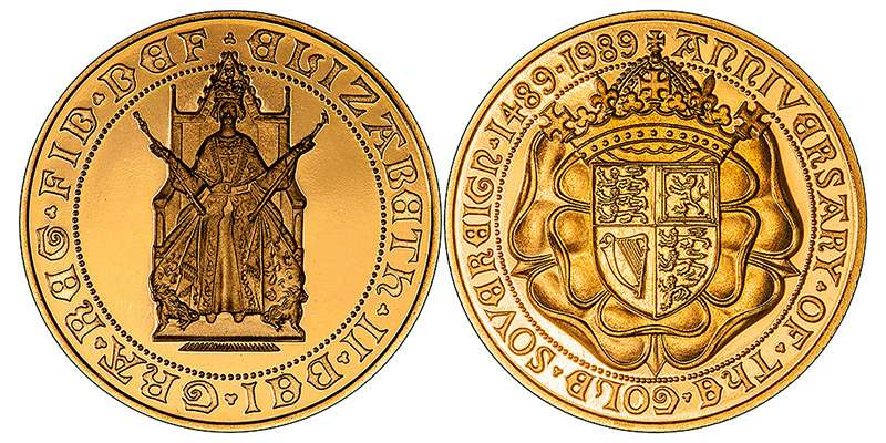 1989 Gold Proof Sovereign Obverse and Reverse Image