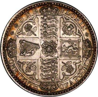 1849 Victoria Florin Silver Coin