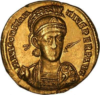 Roman Emperor Constantius II - Solidus Gold Coin