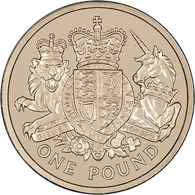 2015 UK One Pound Coin with Royal Arms and Honi Soit Qui Mal Y Pense motto