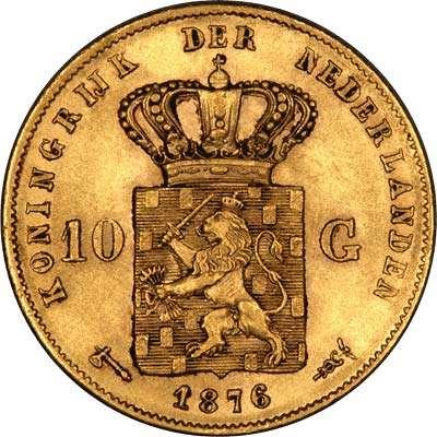 1876 Netherlands 10 Guilder Gold Coin with Privy Marks