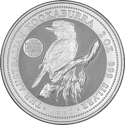 1997 Australian Silver kookaburra with 40 Hour Famine Appeal Privy Mark