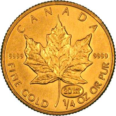 1999 Canada Gold Maple Quarter Ounce Coin with 20th Anniversary Privy Mark