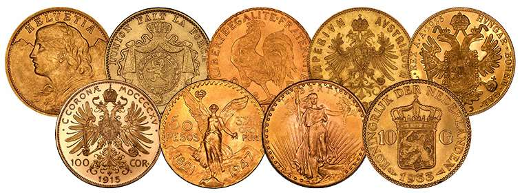Various Bullion Gold Coins from All Over the World