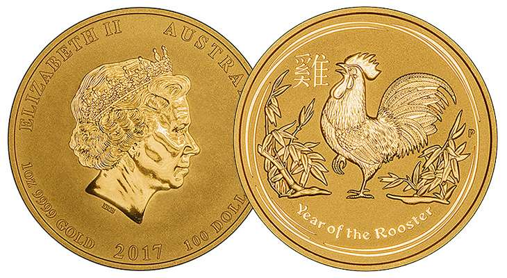2017 Australian Year of the Rooster Gold Lunar Coins