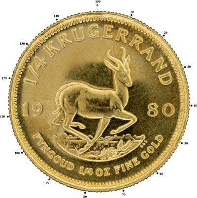150 Serrations on Edge of Quarter Ounce Krugerrand