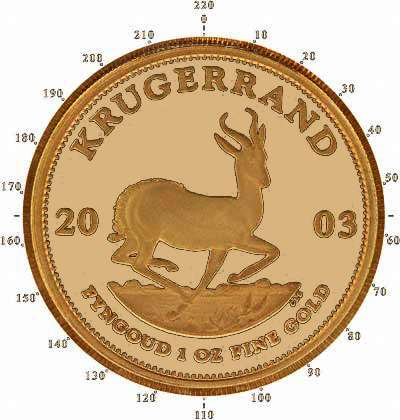 2003 One Ounce Proof Krugerrand Reverse Showing 220 Serrations