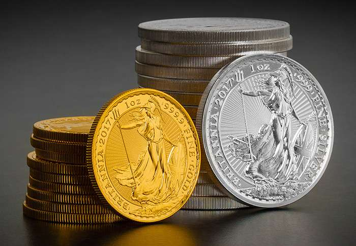 2017 Britannia 1oz gold and silver bullion coins