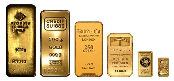 Gold Bars from 1g to 1kg