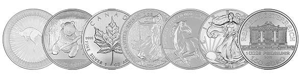 Selection of Silver Bullion 1oz Coins