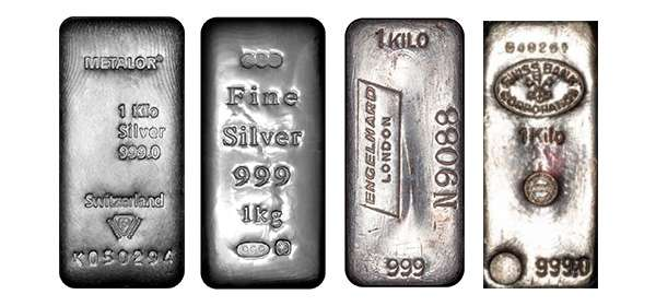 Selection of Silver 1kg Bars