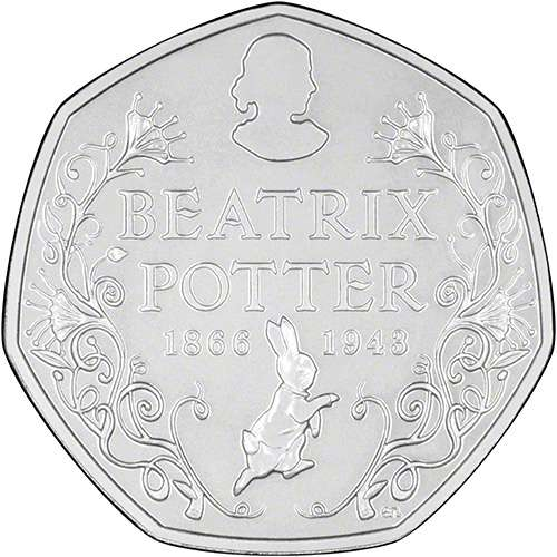 2016 Beatrix Potter 150th Anniversary of Her Birth Brilliant Uncirculated Fifty Pence Coin