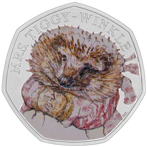 2016 Mrs Tiggy Winkle Coloured Silver Proof Fifty Pence Coin