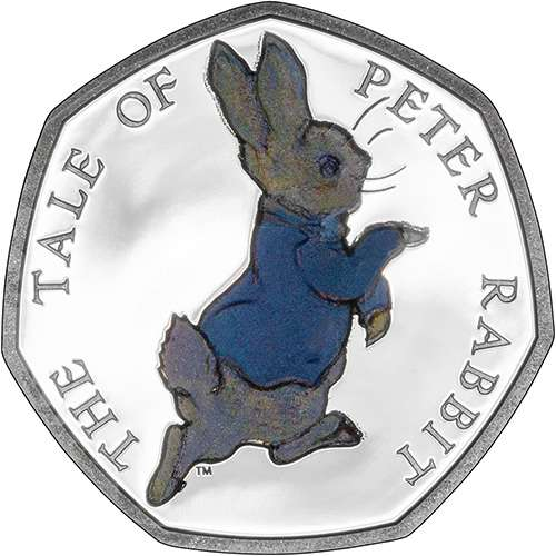 2017 The Tale of Peter Rabbit Fifty Pence Coloured Silver Proof Coin
