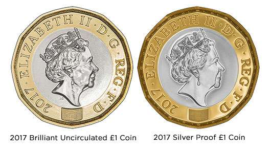 2017 £1 Coin Finishes