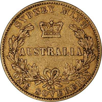 1855 Victoria Sovereign Reverse - Struck at the Australian, Sydney mint branch featuring the Australian reverse.