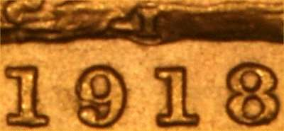 1918 George V Sovereign - the I mint mark for the Bombay mint is situated in the ground above the year date on the reverse