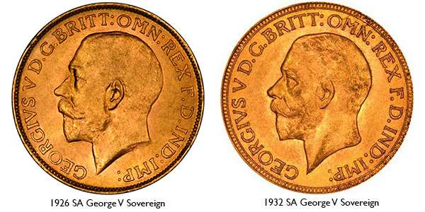 George V Portrait - Large Bare Head and Small Bare Head