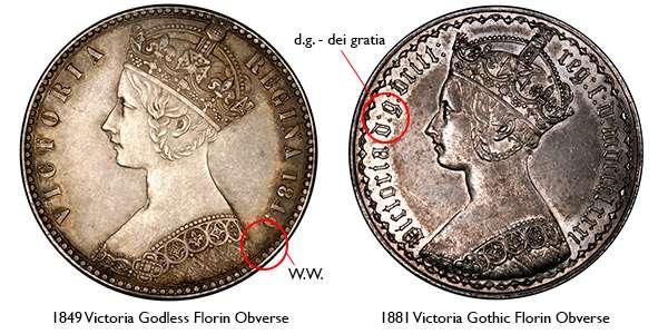 1849 Silver Florin Victoria Godless Gothic Obverse