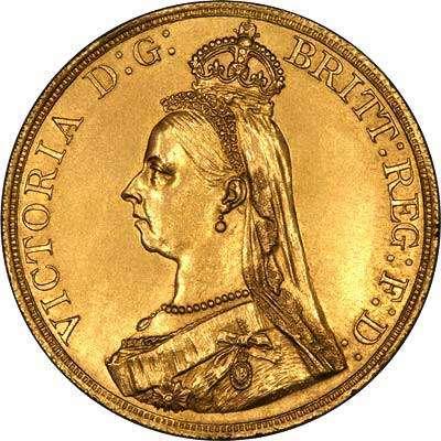 1887 Victoria Jubilee Head Quintuple Sovereign Obverse