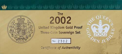 2002 Whole Coin Set Sovereign - 3 Coins Gold Proof Certificate