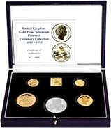 1993 Whole Coin Set Sovereign - Four (4) Coins Gold Proof The Pistrucci Centenary Collection Box