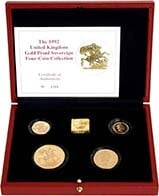 1992 Whole Coin Set Sovereign - Four (4) Coins Gold Proof w/o Box w/o Cert Presentation Box