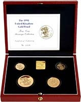 1998 Whole Coin Set Sovereign - Four (4) Coins Gold Proof Presentation Box