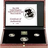1990 Whole Coin Set Sovereign - 3 Coins Gold Proof Presentation Box