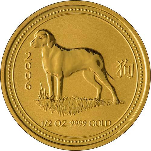 2006 0.5 oz Gold Coin Lunar Year of the Dog Perth Mint Bullion 21330