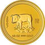 2007 0.5 oz Gold Coin Lunar Year of the Pig Perth Mint Bullion 21905