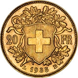 1935 Gold Swiss 20 Francs Bullion 22216