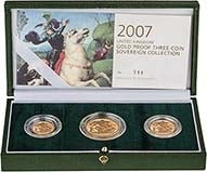 2007 Whole Coin Set Sovereign - 3 Coins Gold Proof Presentation Box