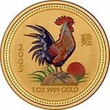 2005 1 oz Gold Coin Lunar Year of the Rooster Perth Mint Bullion Coloured 22165