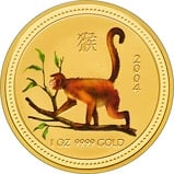 2004 1 oz Gold Coin Lunar Year of the Monkey Perth Mint Coloured Bullion 22286