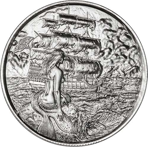 Silver Pirate 2 Oz Bullion Round Siren Chard