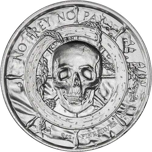 Silver Pirate 2 Oz Bullion Round Privateer Chard