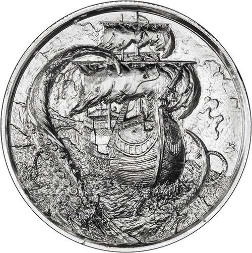 Silver Pirate 2 Oz Bullion Round Serpent Chard