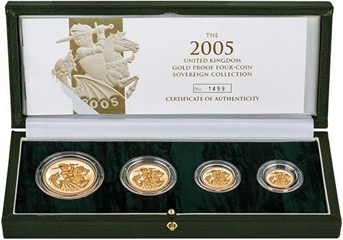2005   Whole Coin Set Sovereign - Four (4) Coins Gold Proof Presentation Box
