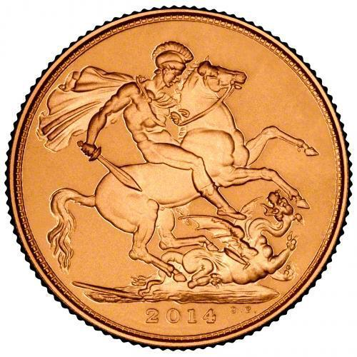 2014 Gold Full Sovereign Elizabeth II Bullion Reverse