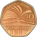 2000 UK Coin 50p Gold Proof British Public Libraries 23789