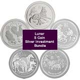1 oz Silver Coin Bundle Perth Mint - 5 Coins Bullion 22060