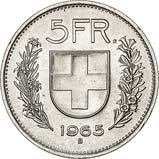1965 Silver Switzerland 5 Francs Bullion 24217